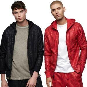 True Religion Men's Allover Print Full Zip Hoodie Sweatshirt