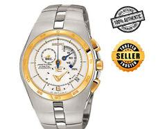 Seiko Arctura Kinetic Chronograph SNL012 SNL012P1 Mens White Dial 2 Tone Watch