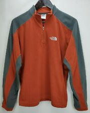 The North Face Mens TKA 100 Fleece 1/4 Zip Jacket Small S Orange Brown Pullover