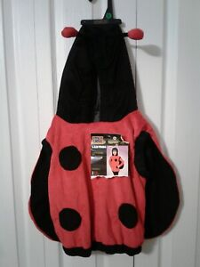 Halloween Lady Bug Red Black Plush Winged Hooded Costume Childs Sz Small 2T-4T