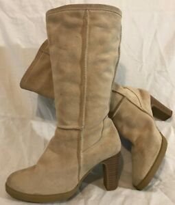 Fiore Leather Beige Mid Calf Suede Boots Size 6 (754Q)