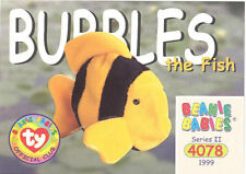 TY Beanie Babies BBOC Card - Series 2 Common - BUBBLES the Fish - NM/Mint