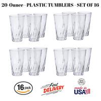Set Of 16 New Clear Plastic Beverage Tumblers 20 Oz Dishwasher Safe For Everyday