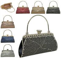Ladies Diamante Hardcase Clutch With Handle Women Festive Party Purse Handbag