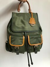 TORY BURCH Perry Nylon Color-Black Flap Backpack Green Auth