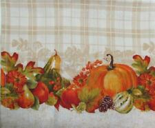 "Autumn Cafe Curtains Plaid 36"" Tiers (only) HARVEST BOUNTY w Squash & Pumpkins"