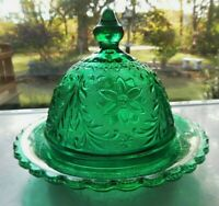"""Tiara Indiana Glass Teal Green Sandwich 6"""" Round Butter Cheese Dish"""