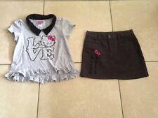 Cute Gray Hello Kitty! girls short sleeve shirt & skirt outfit