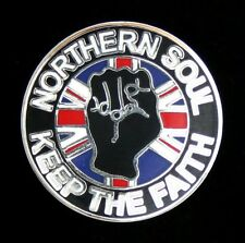 "NORTHERN SOUL ""KEEP THE FAITH/UNION JACK"" 28mm DIAMETER  ENAMEL PIN BADGE"