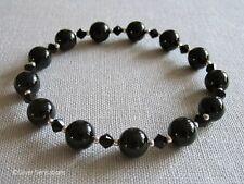 Jet Black Onyx & Sterling Silver Beaded Bracelet With Black Swarovski Crystals