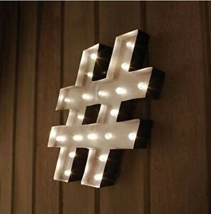 LED Light Hashtag Marquee Sign # With 20 LEDS And Timer - Wedding decor