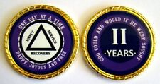 """Alcoholics Anonymous 2 Year Rope Edge Sobriety Coin Chip 1 3/4"""" - Purple/Purple"""