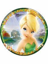 "TINKERBELL - DESIGN 5  PERSONALIZED 7.5"" CIRCLE ICING CAKE TOPPER"