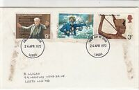 Great Britain 1972 Composer Coastguard Leeds Cancel FDC Stamps Cover ref 22131