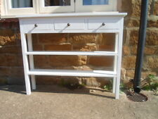 H80 W80 D20cm BESPOKE WHITE CONSOLE HALL BEDROOM TABLE 3 DRAWER 2 SHELVES