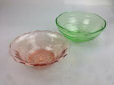 Antik Pressglas Uranglas Hellgrün + rose` 2x gr. Schale Dessert Schüssel 30er