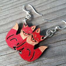 FOX laser-cut wood earrings Green Tree Jewelry CHERRY RED 1292 fun character!