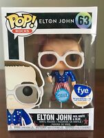 Funko Pop #63 Elton John GLITTER Red, White, & Blue FYE EXCLUSIVE Free Ship