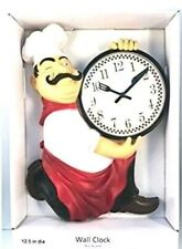 """New Fat Chef Holding Knife & Fork Kitchen Wall Clock 12.5"""""""
