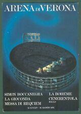 LIRICA. ARENA DI VERONA stagione 1973. Cartolina d'epoca con bollo speciale.