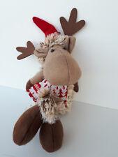 Renna Natalizia con Cappello di Babbo Natale in Tessuto da appendere o seduta