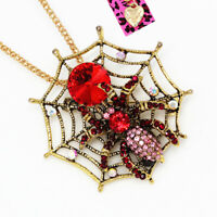 Betsey Johnson Red Crystal Spider on Web Pendant Chain Necklace/Brooch Pin