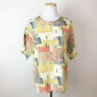 VTG 90s CHE STUDIO Abstract Watercolor Print Blouse MEDIUM Earth Tone Boxy Fit