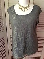 ANTTHONY DESIGN UK/EU X LARGE FABULOUS SILVER GREY STRETCH TOP WITH LACE OVERLAY