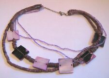 Great multi-string necklace purple shell square coral mini beads 42 - 48 cm long