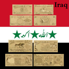 WR  Iraq Gold Foil Banknote Set 8pcs Dinars World Money Collection Gifts