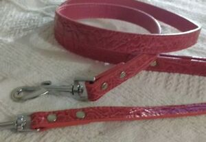 "MIRAGE FAUX CROC LEATHER DOG LEAD LEASH 3/4"" X 4FT pink MEDIUM LARGE 1 TIER"