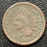 1866 Indian Head Cent One Penny 1c Better Grade #18017