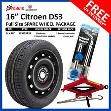 "CITROEN DS3 2008-2017 16"" FULL SIZE STEEL SPARE WHEEL & TYRE  + TOOL KIT"