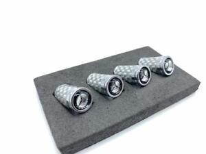 Sliver Carbon Fiber Tire Valve Stem Caps Mercedes Benz