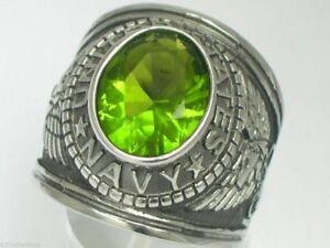 United States Navy Military August Peridot Stone Stainless Steel Men Ring Size 7