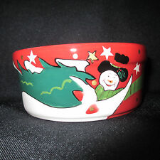 """PRO SELECT Holiday Ceramic Snowman Dog or Cat Dish Bowl Set 4"""" Red 2 Pc"""