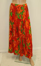 Vintage 80's 90's Red Orange Ethnic India Print Hippie Boho Gauze Skirt - M/L
