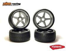 Kyosho GT 1/8 Nitro RC Wheels & Road Tyres 4pcs Gun Metal 17m Std Hex - IGTH002S