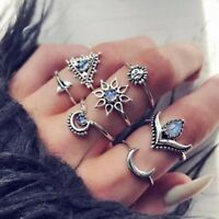 7Pcs/Set Women Boho Silver Moon Sun Stack Plain Above Knuckle Midi Finger Rings