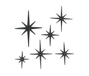 Set of 6 Cast Iron Starburst Wall Hangings Mid Century Modern 8 Pointed Stars