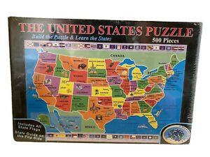 """United States Puzzle 500 Pcs 32""""x16"""" A Broader View Build & Learn the States NEW"""