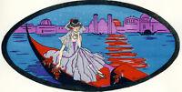 1930s French Pochoir Print Bouvier Italian Girl Venice Gondola Red Roses