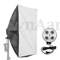 Photo Video Studio Light Softbox+4in1 E27 Socket Lamp Bulb Head Stand Holder Kit
