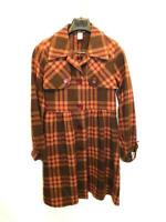Poema L Brown Purple Plaid Wool Coat Belted Waist Unlined Jacket Button Lg