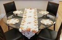 Embroidered Fall Table Runner & 4 Doily Table Mats Set (USA SELLER)