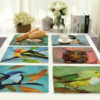 Oil Painting Bird Insulation Placemat Dining Coffee Table Mat Home Kitchen