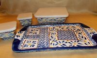 Temp-Tations Old World Blue by Tara lg tray with 3 covered baking/serving dishes