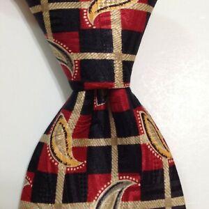 ROBERT TALBOTT Best of Class Silk Necktie USA Designer Geometric Red/Black EUC
