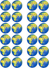 Globe World Map Edible Cupcake / Fairy Cake Wafer Paper Toppers x 24