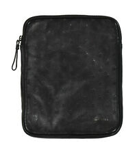 "Moncler Black Leather Porta Logo Tablet iPad Case 8"" x 10"" New"